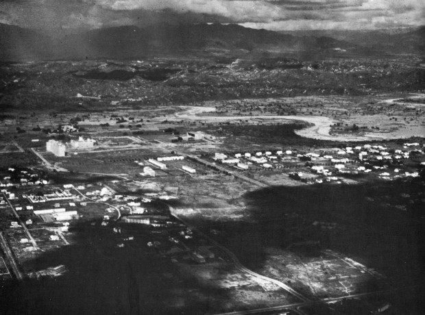 Chandigarh aerial 1950s with Sukhna Choe