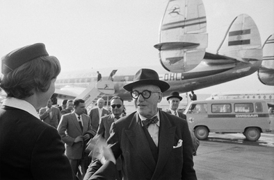le corbusier arrives in zurich air india