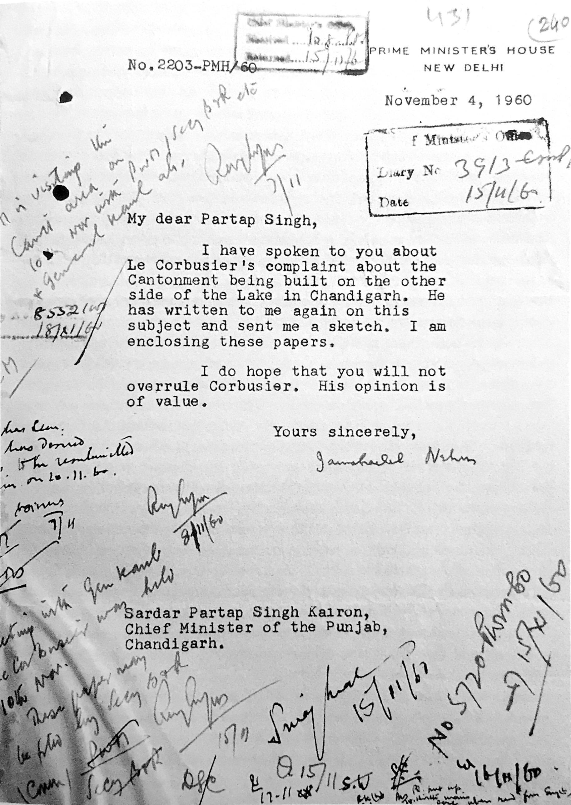 nehru letter to kairon